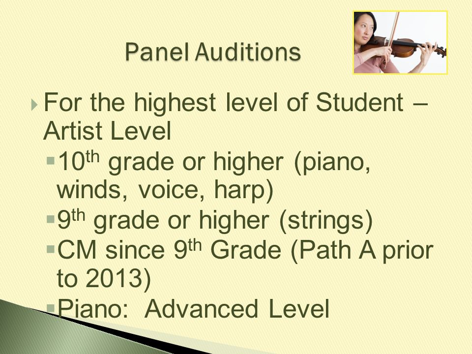 Panel Auditions For the highest level of Student – Artist Level