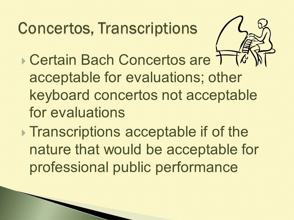 Concertos, Transcriptions