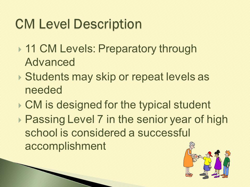 CM Level Description 11 CM Levels: Preparatory through Advanced