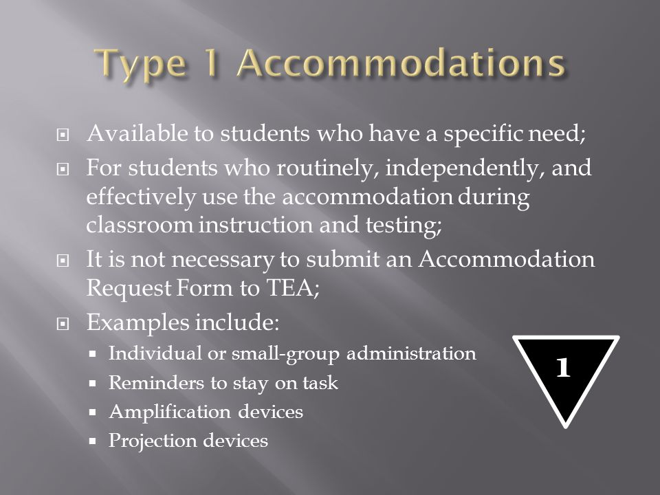 Type 1 Accommodations Available to students who have a specific need;