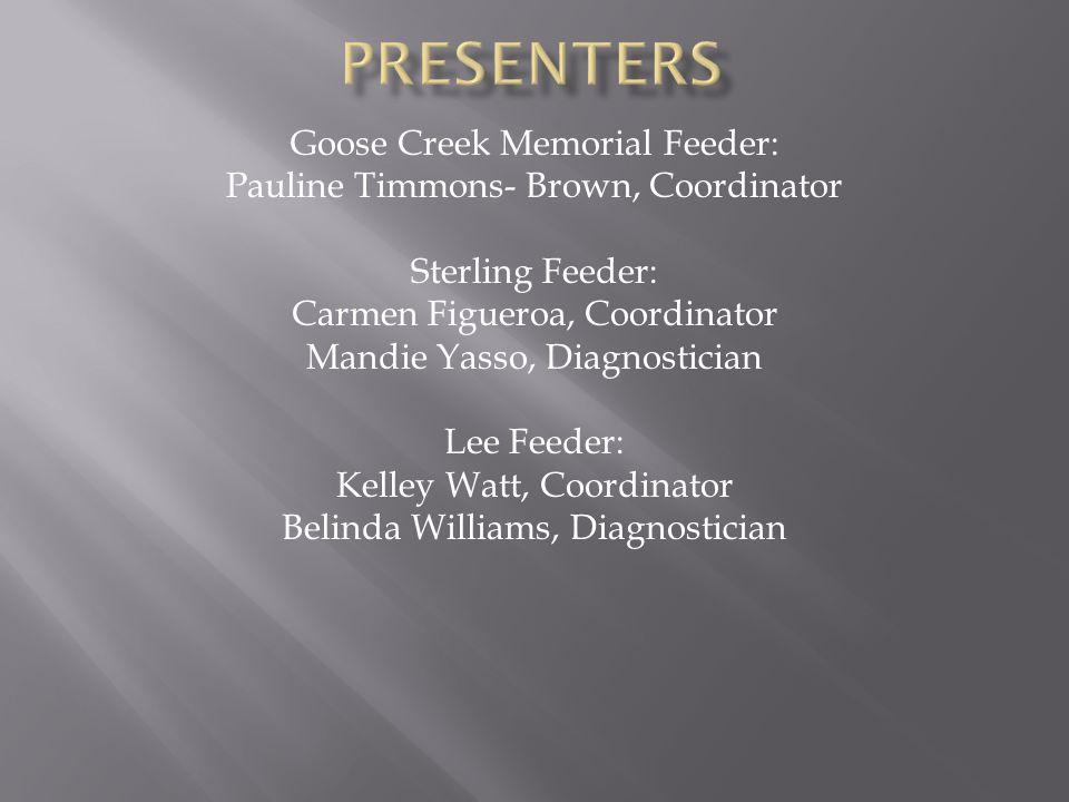 presenters Goose Creek Memorial Feeder: