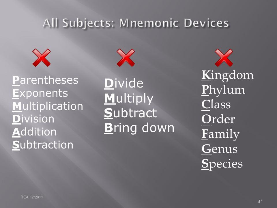 All Subjects: Mnemonic Devices