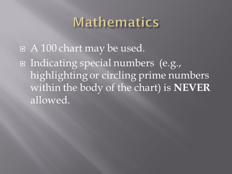 Mathematics A 100 chart may be used.