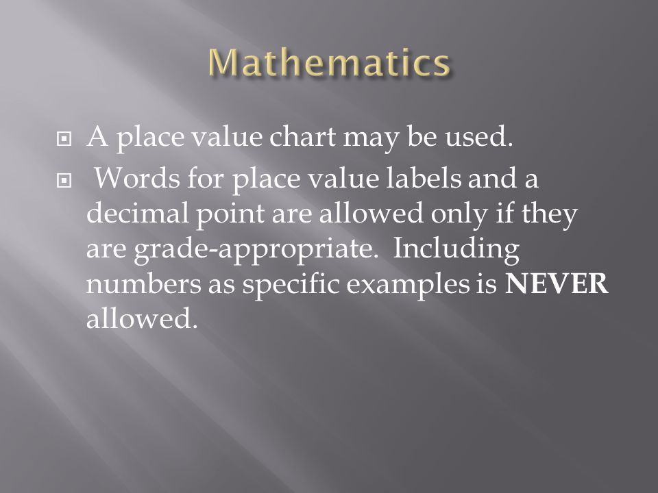 Mathematics A place value chart may be used.