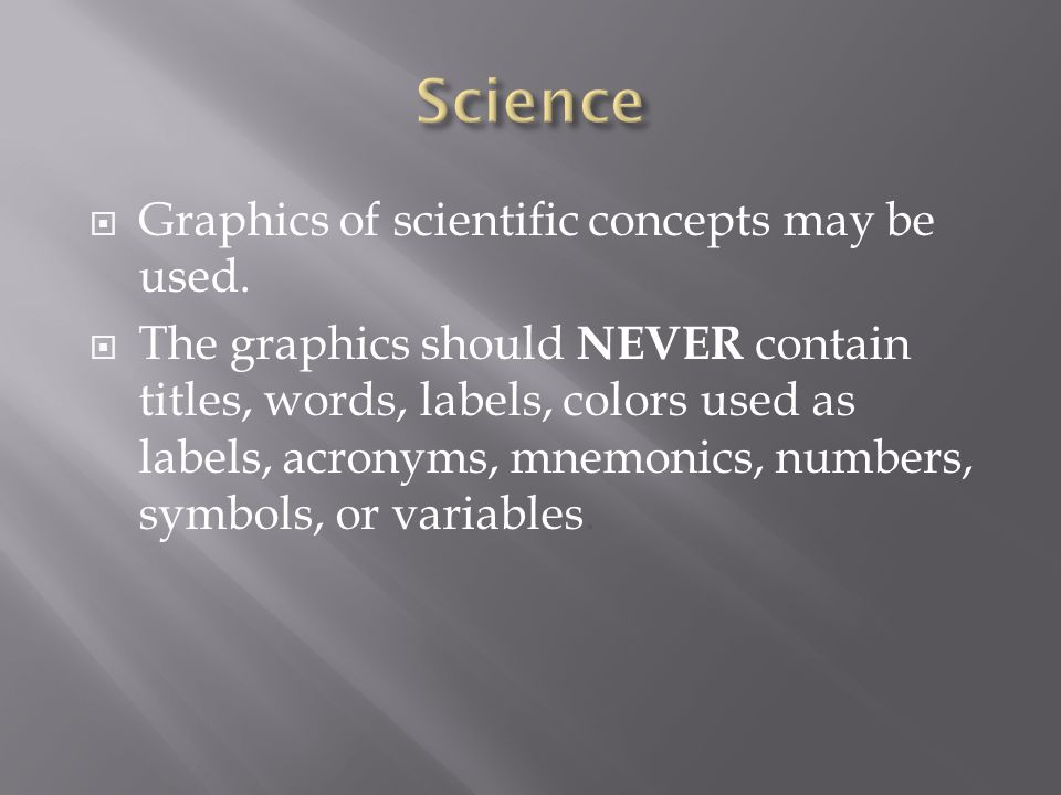 Science Graphics of scientific concepts may be used.