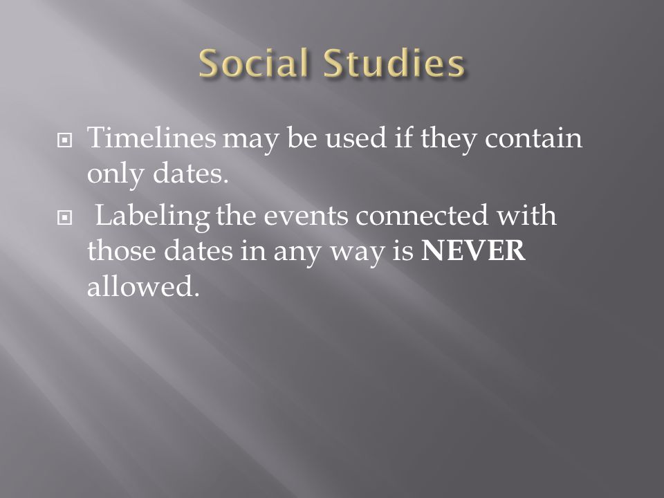 Social Studies Timelines may be used if they contain only dates.