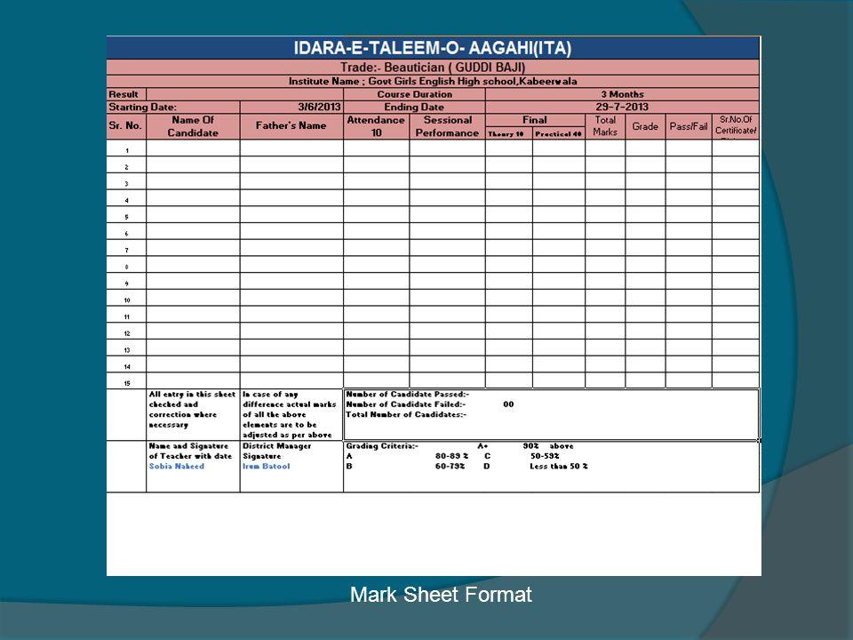 Mark Sheet Format