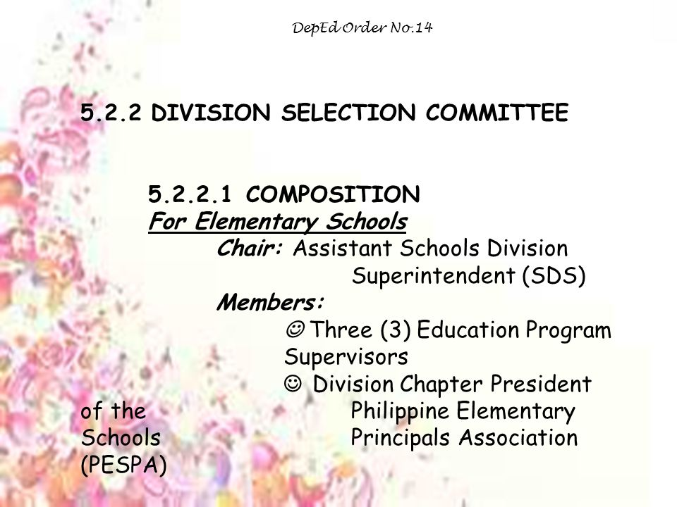 5.2.2 DIVISION SELECTION COMMITTEE 5.2.2.1 COMPOSITION