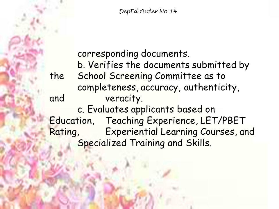 corresponding documents.
