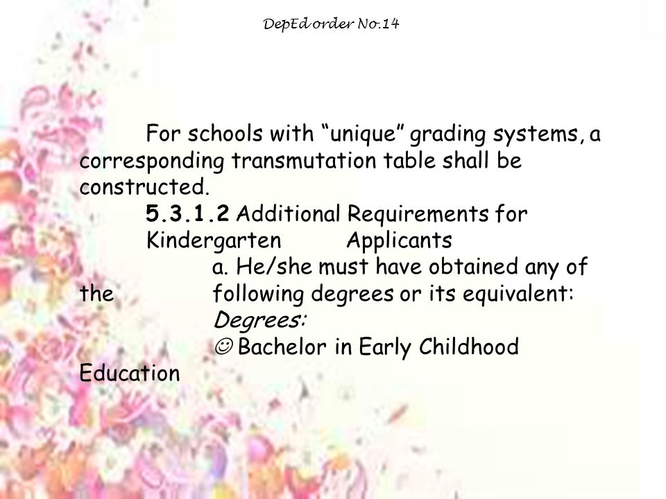 5.3.1.2 Additional Requirements for Kindergarten Applicants