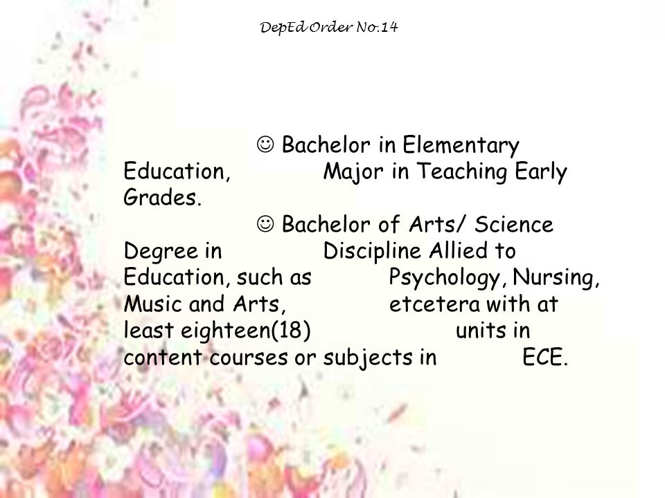  Bachelor in Elementary Education, Major in Teaching Early Grades.