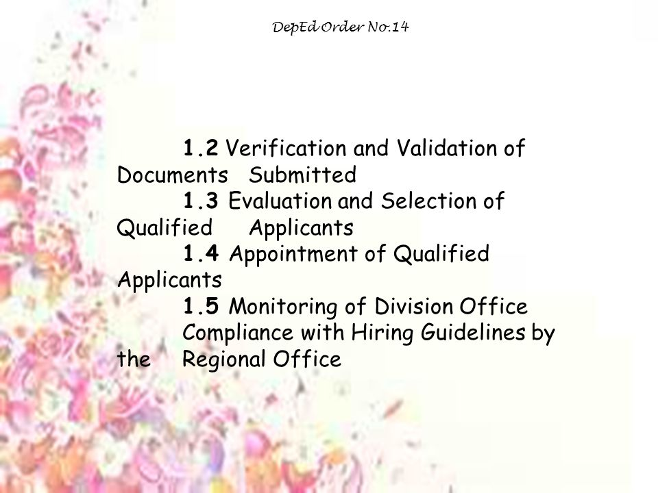 1.2 Verification and Validation of Documents Submitted