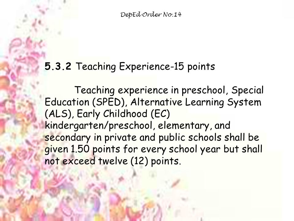 5.3.2 Teaching Experience-15 points