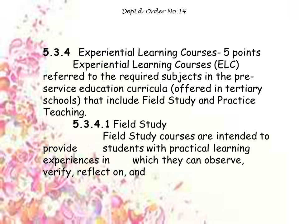 5.3.4 Experiential Learning Courses- 5 points