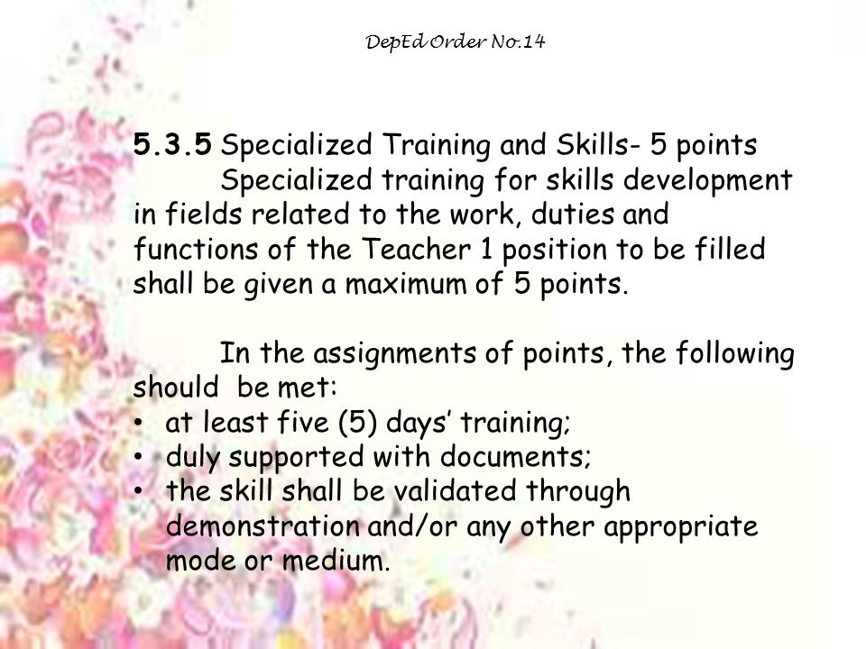 5.3.5 Specialized Training and Skills- 5 points