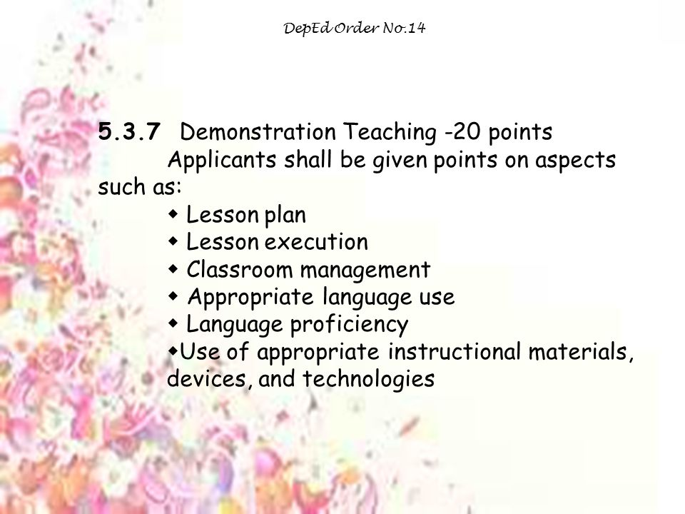 5.3.7 Demonstration Teaching -20 points