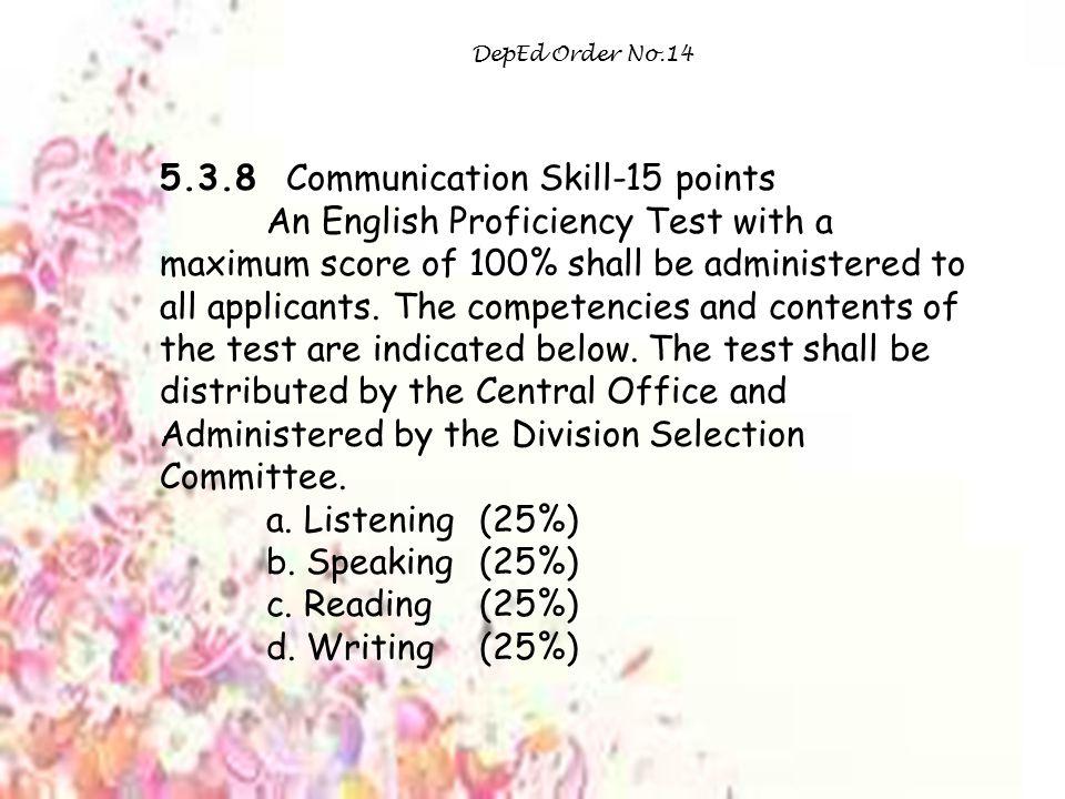 5.3.8 Communication Skill-15 points