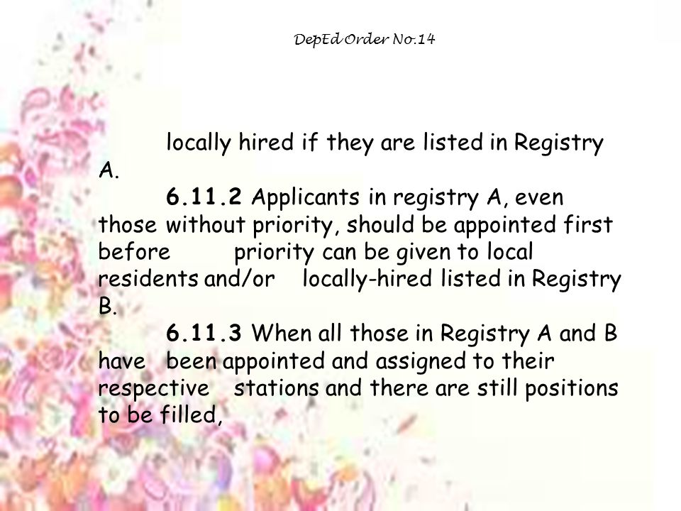 locally hired if they are listed in Registry A.