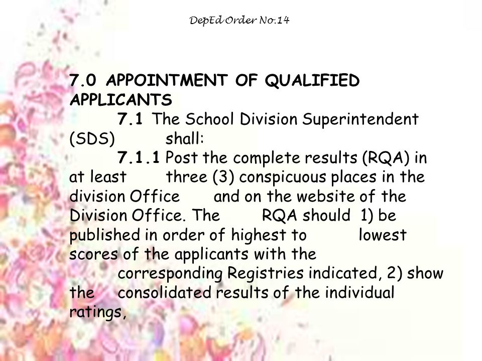 7.0 APPOINTMENT OF QUALIFIED APPLICANTS