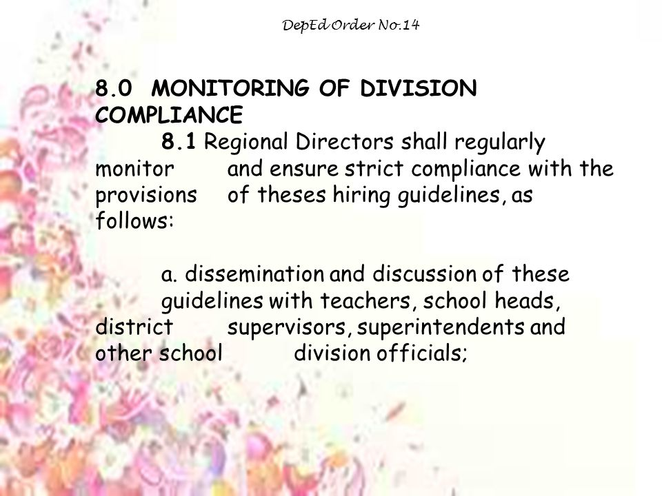 8.0 MONITORING OF DIVISION COMPLIANCE