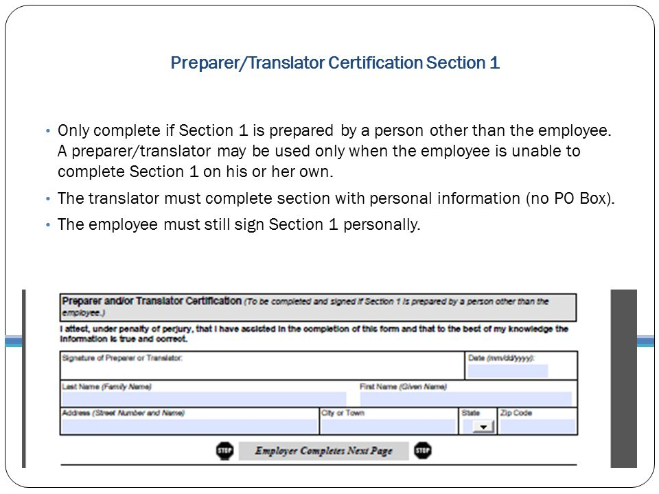 Preparer/Translator Certification Section 1