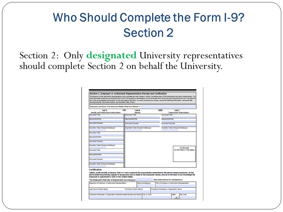 Who Should Complete the Form I-9 Section 2