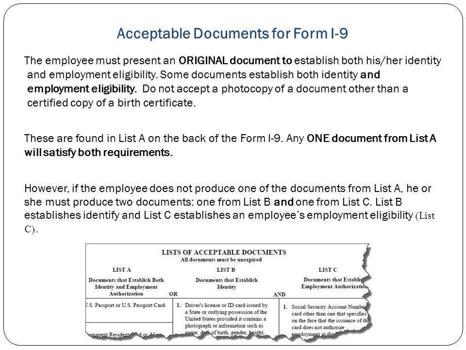Acceptable Documents for Form I-9