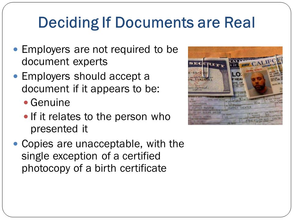 Deciding If Documents are Real