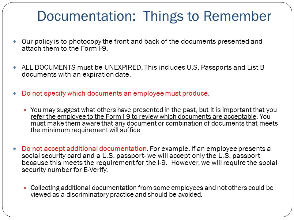 Documentation: Things to Remember