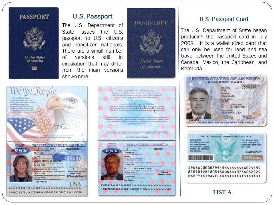 U.S. Passport LIST A U.S. Passport Card