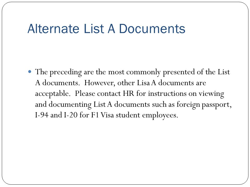 Alternate List A Documents