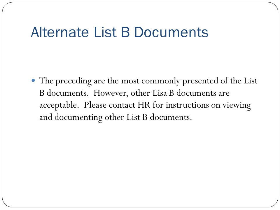 Alternate List B Documents