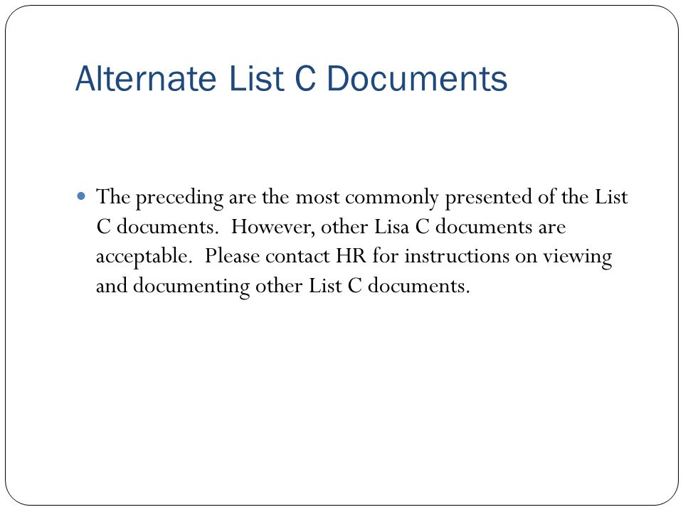 Alternate List C Documents