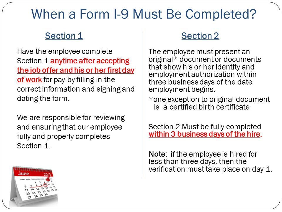 When a Form I-9 Must Be Completed