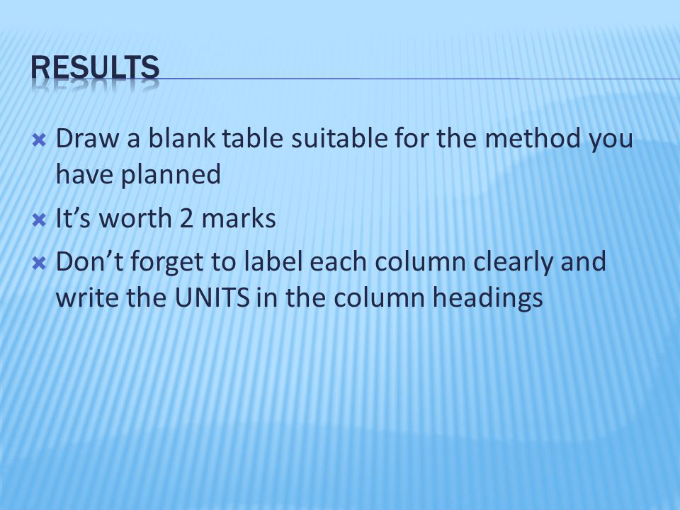 Results Draw a blank table suitable for the method you have planned