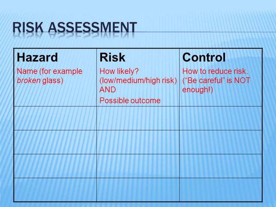 Risk assessment Hazard Risk Control Name (for example broken glass)