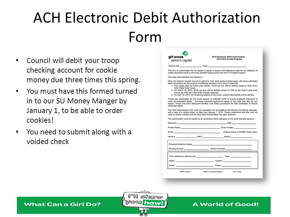 ACH Electronic Debit Authorization Form