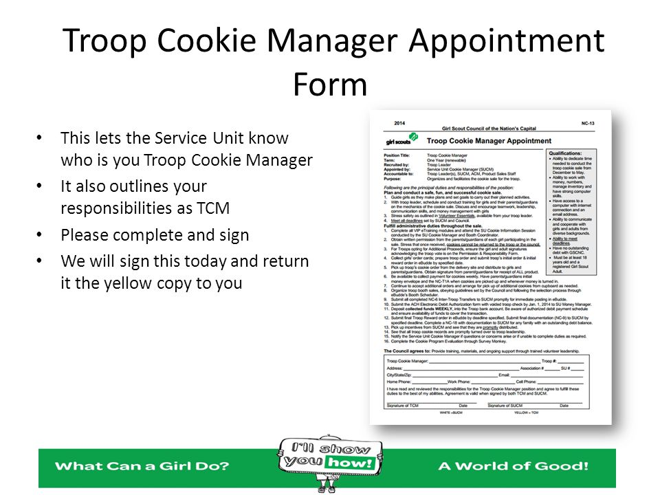 Troop Cookie Manager Appointment Form