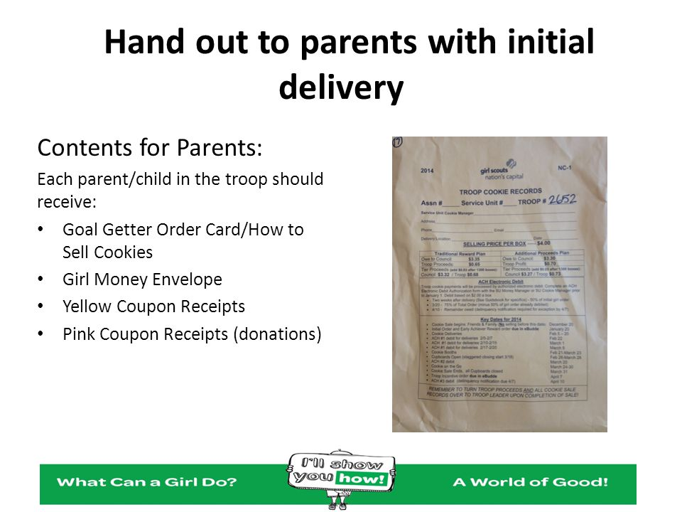 Hand out to parents with initial delivery