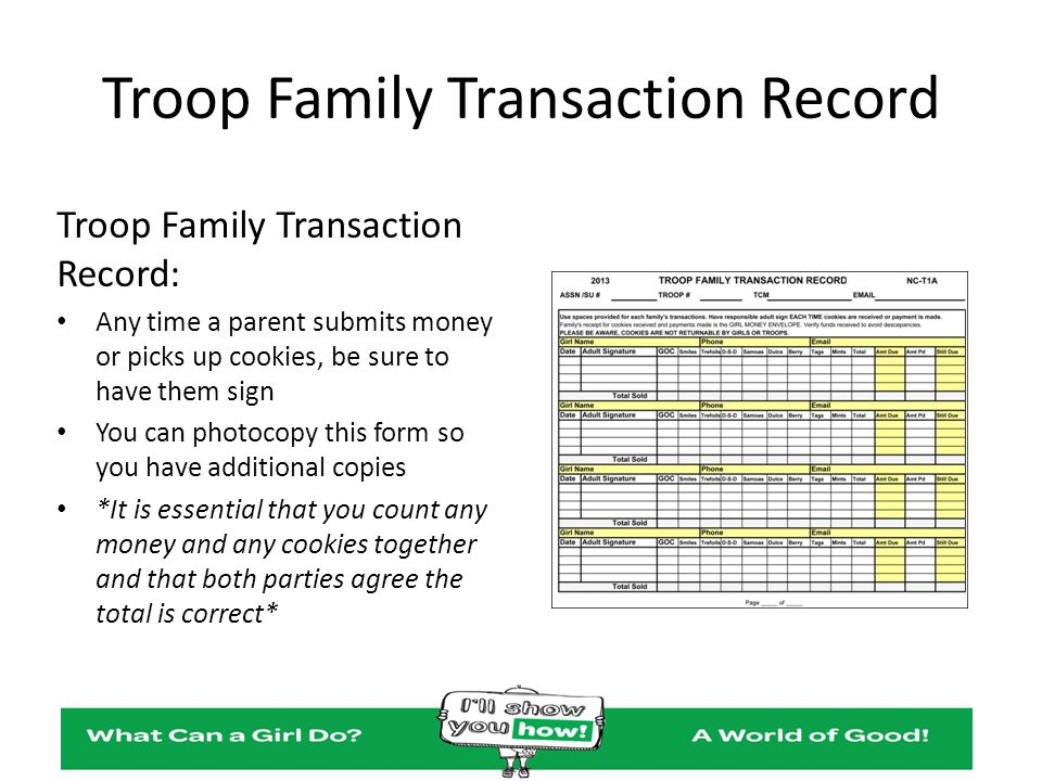 Troop Family Transaction Record