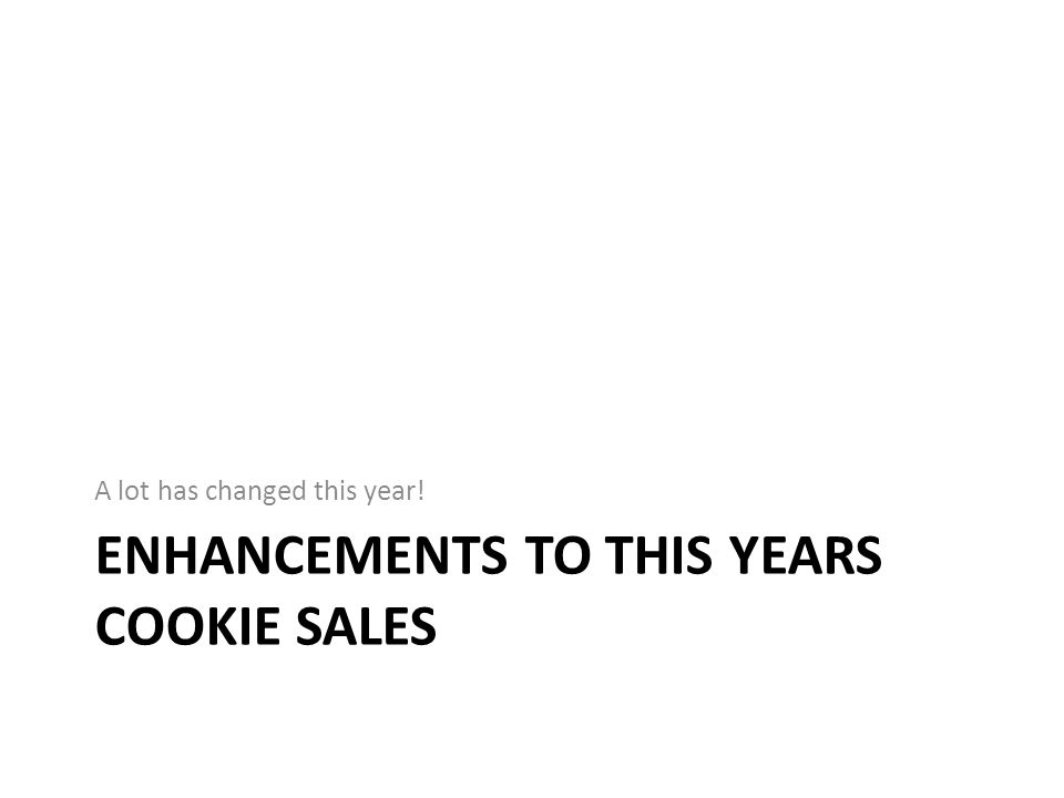 Enhancements to this Years Cookie Sales