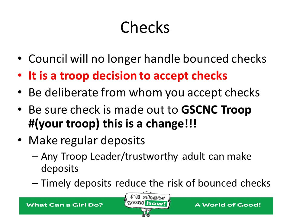 Checks Council will no longer handle bounced checks