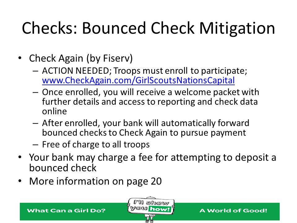 Checks: Bounced Check Mitigation