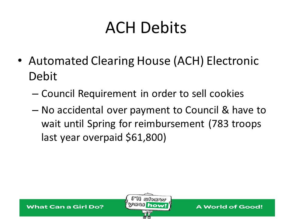 ACH Debits Automated Clearing House (ACH) Electronic Debit