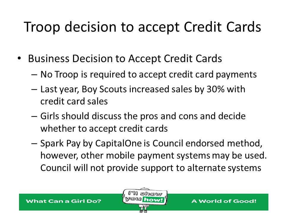 Troop decision to accept Credit Cards
