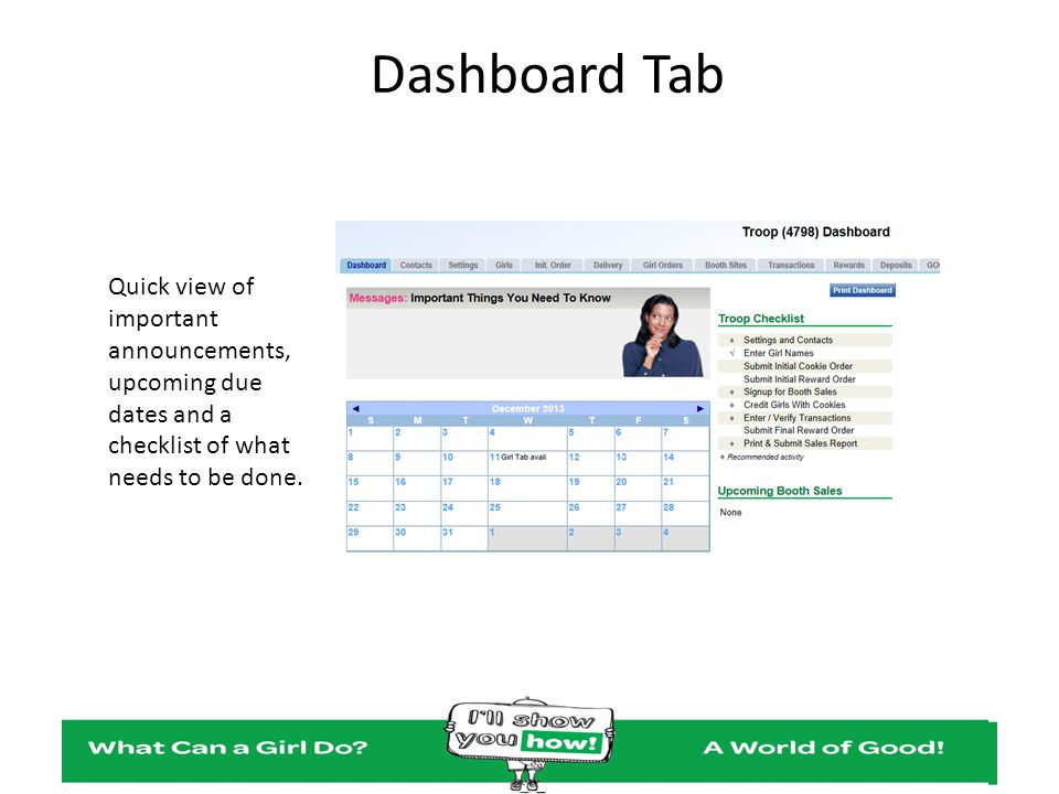 Dashboard Tab Quick view of important announcements, upcoming due dates and a checklist of what needs to be done.