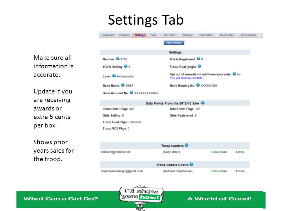Settings Tab Make sure all information is accurate.