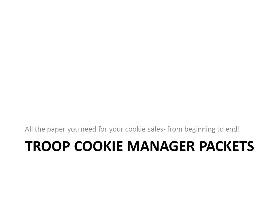 Troop Cookie Manager Packets