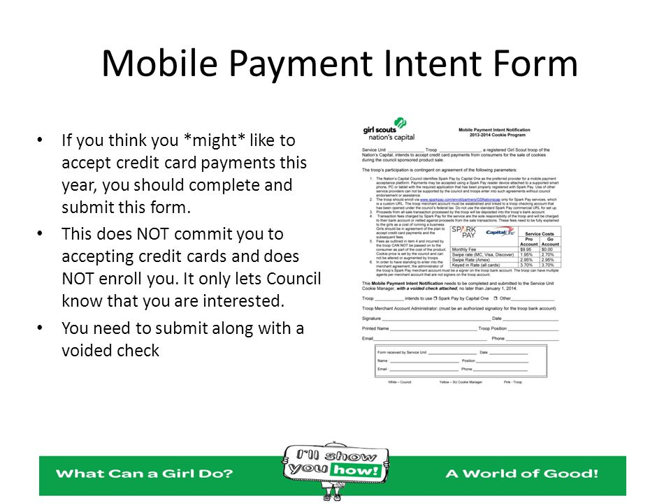 Mobile Payment Intent Form