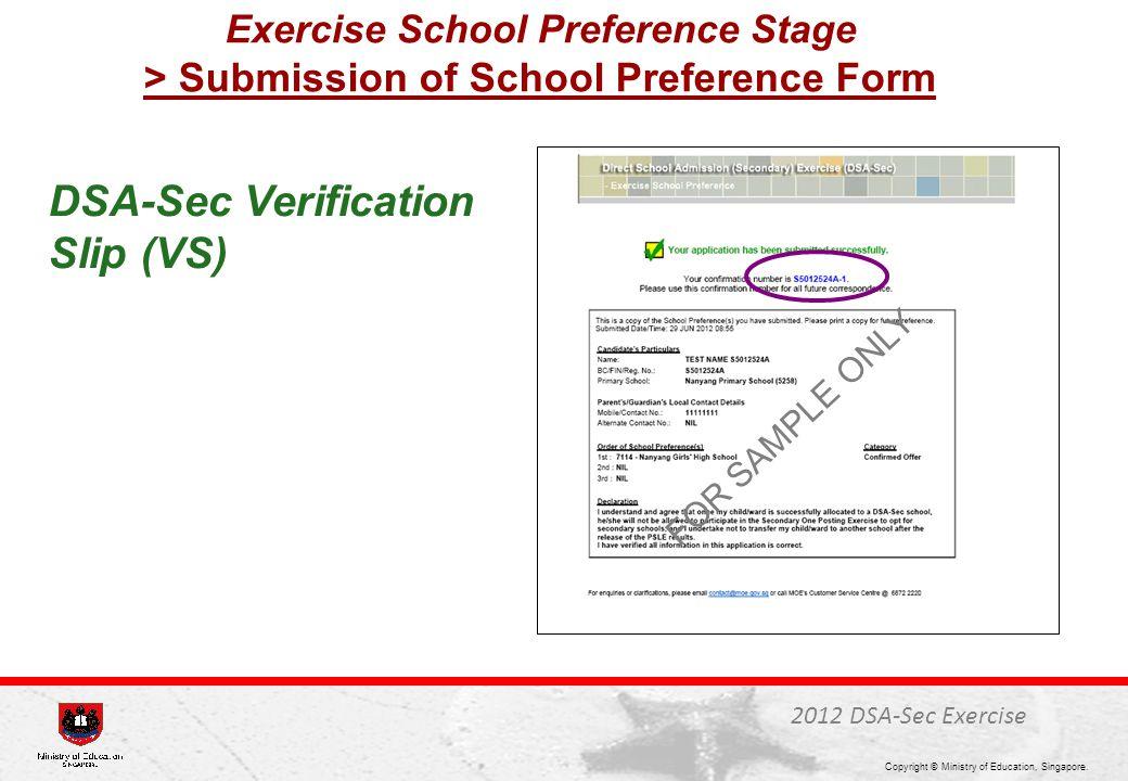 DSA-Sec Verification Slip (VS)